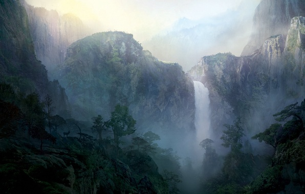 Picture landscape, mountains, dawn, waterfall, deer, morning, art, painted landscape