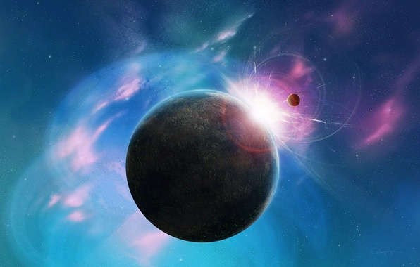 Picture space, stars, pink, blue, planet, space, stars