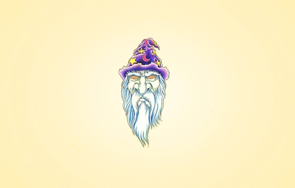 Picture purple, star, minimalism, a month, head, cap, the wizard, Merlin, beard white, hypnosis eyes