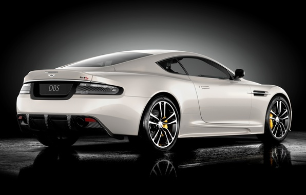 Picture white, reflection, Aston Martin, DBS, supercar, twilight, rear view, Ultimate, Aston Martin, spec.version, DBS