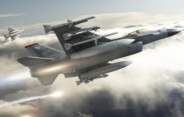 Picture clouds, flight, missiles, art, aircraft, fighters, F-16