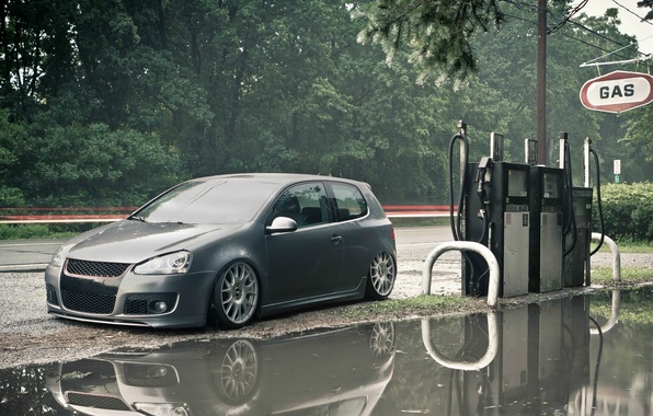 Picture road, dressing, Volkswagen, puddle, Golf, gas