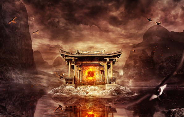 Picture the sky, water, trees, birds, reflection, fire, sparks, temple, emblem, desktopography, Heron