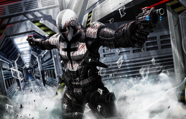 Picture fragments, weapons, blood, smoke, Warrior, armor, laser sight