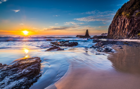 Picture beach, nature, the ocean, rocks, Australia, New South Wales, Jones Beach in Kiama Downs