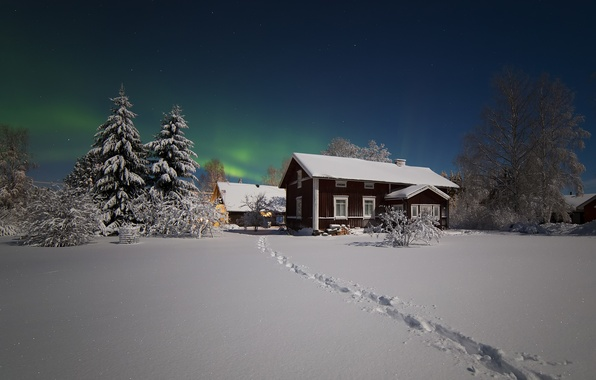 Picture winter, stars, snow, night, home, Northern lights, the village