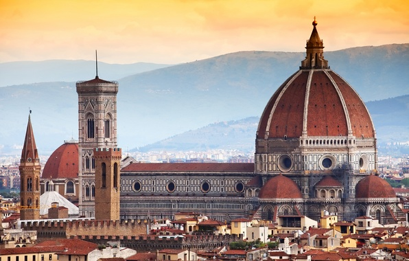 Picture the city, building, home, Italy, panorama, Cathedral, Florence, architecture, Italy, Tuscany, Santa Maria del Fiore, …