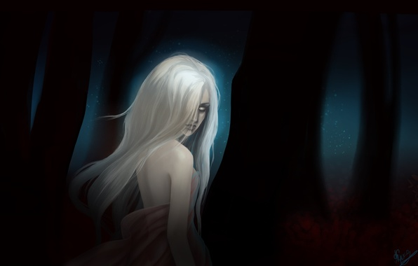 Picture forest, look, leaves, girl, night, fiction, hair, the demon, art, white eyes, derewala
