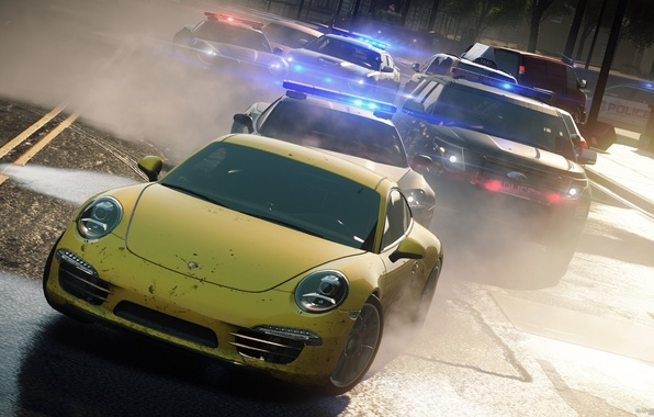 Picture the city, race, chase, Porsche 911, cops, need for speed most wanted 2012