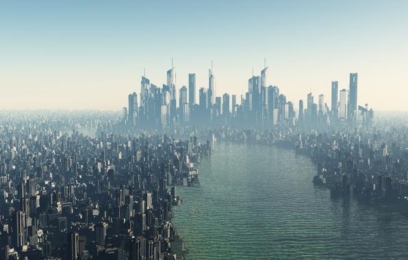 Picture the city, future, river, skyscrapers, megapolis, futurism
