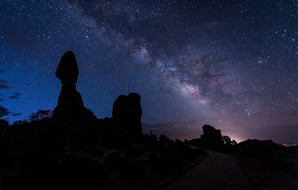 Picture road, the sky, stars, landscape, night, silhouette