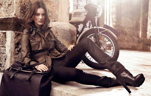 Picture autumn, girl, model, clothing, jacket, motorcycle, steps, brown hair, bag, Monika Jac Jagaciak, Monica Yak …