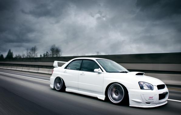 Picture road, Subaru, Impreza, white, white, road, STI
