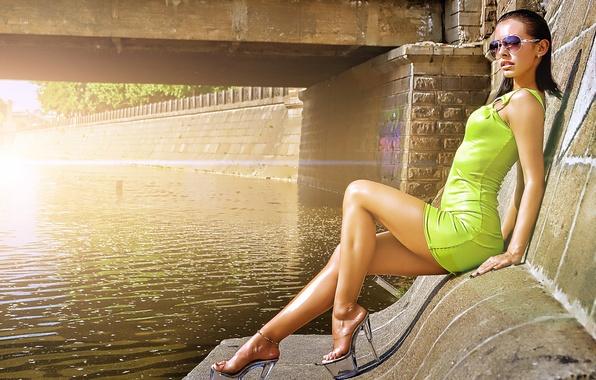 Picture girl, bridge, river, dress, brunette, glasses, shoes, legs, milana