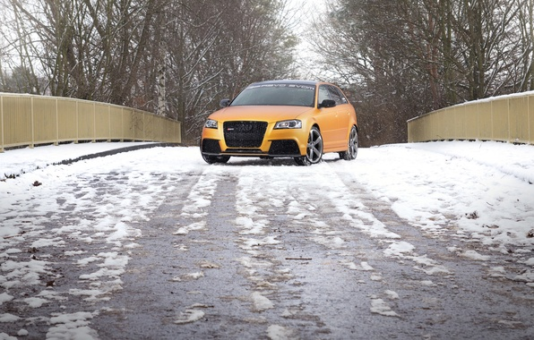 Picture road, snow, Audi, car, front view, Spirtback, Schwabenfolia, RS3, Gold Orange