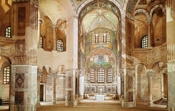 Picture design, style, interior, Cathedral, temple, interior, the Church, Catedral, Ravenna, San Vitale