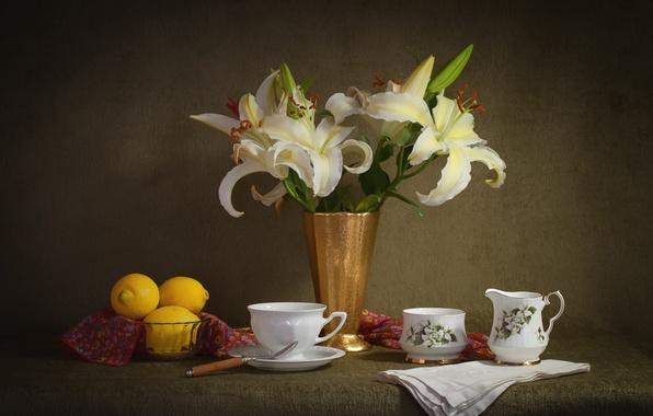 Picture Lily, Cup, still life, lemons, set, elegance