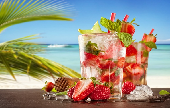 Photo wallpaper strawberry, paradise, Mojito, drink, mojito, beach, cocktail, sea, sea, cocktail, beach, summer, tropical, fresh, strawberry