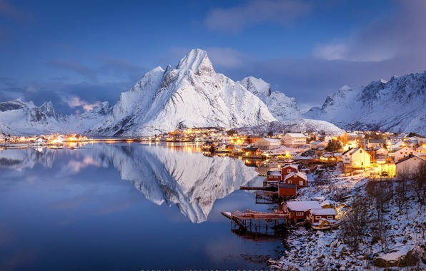 Picture Islands, mountains, rocks, village, Winter, winter Paradise