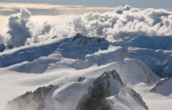 Picture clouds, snow, mountains, tops