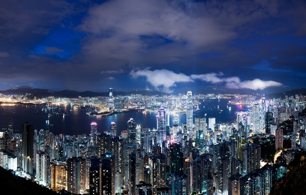 Picture the sky, clouds, night, lights, view, height, Hong Kong, skyscrapers, backlight, panorama, China, blue, megapolis, …