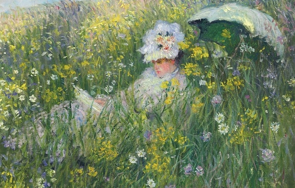 Picture grass, girl, flowers, nature, picture, umbrella, Claude Monet, In The Meadow