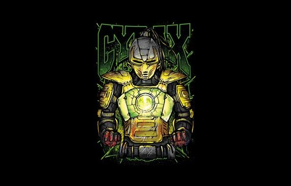 Picture yellow, fighter, cyborg, art, Mortal Kombat, Cyrax