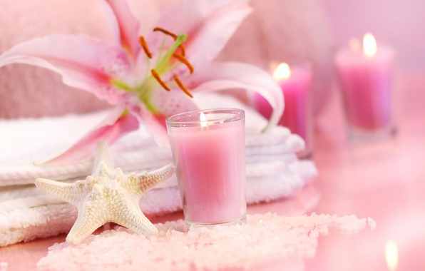 Picture flowers, flame, pink, Lily, candle, towel, crystals, starfish, sea, pink, flowers, Spa, candle, salt, lily, ...