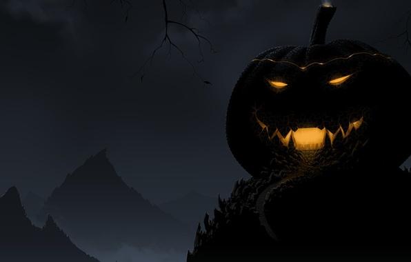 Picture light, night, smile, the darkness, Halloween, pumpkin, Halloween, night, pumpkin