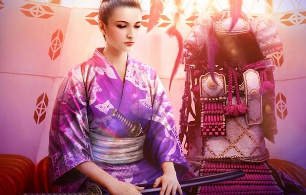 Picture girl, sword, katana, art, armor, kimono, mario wibisono, legend of the five rings, debt chikako