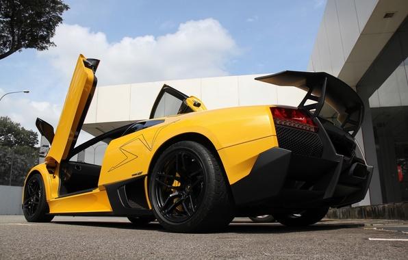 Picture the sky, clouds, yellow, lamborghini, yellow, murcielago, bottom view, Lamborghini, wing, Murcielago, lp670-4 sv