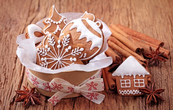 Picture tree, ball, New Year, cookies, Christmas, sweets, house, cinnamon, Christmas, figures, snowflake, cakes, holidays, New …