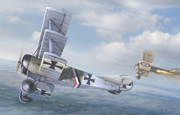 Picture the sky, aviation, art, the British, the Germans, aircraft, dogfight, The first world war