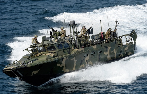 Picture wave, boat, soldiers, sea, RCB, command