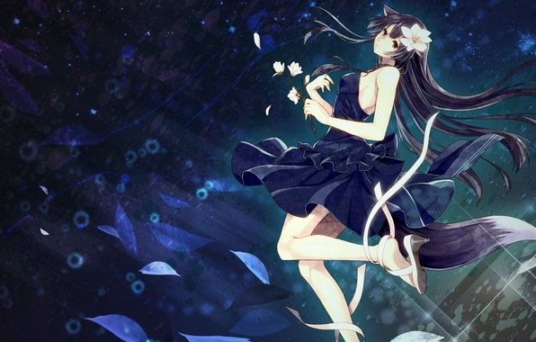 Picture girl, flowers, anime, petals, art, tape, ears, toudou charo