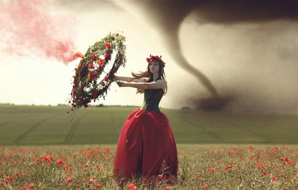Picture field, girl, tornado, wreath
