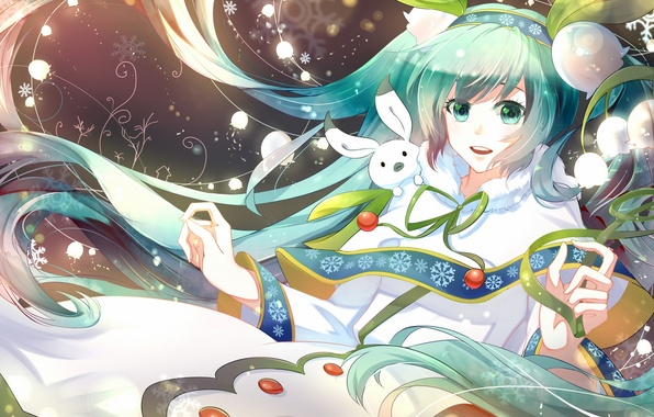 Picture winter, girl, joy, flowers, hare, anime, art, vocaloid, lilies of the valley, yuki miku, phino, …