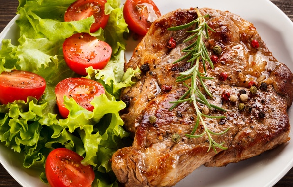 Picture leaves, meat, tomatoes, tomatoes, salad, spices, tomatoes, meat, steak, spice, steak