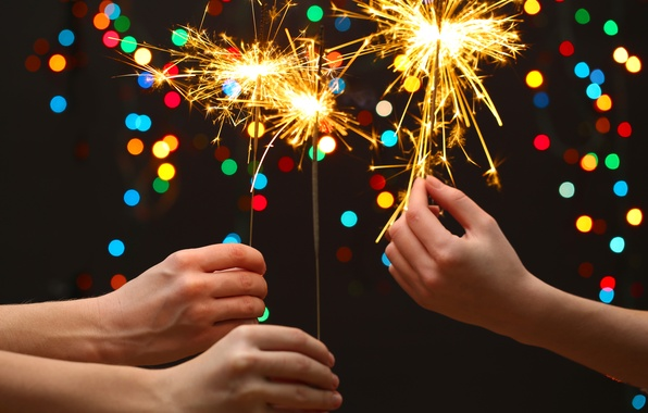 Picture children, lights, lights, hands, new year, bokeh, bokeh, Merry Christmas, sparklers, hands, Merry Christmas, New …