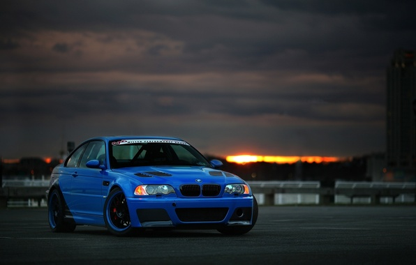 Picture the sky, sunset, blue, clouds, bmw, BMW, blue, e46