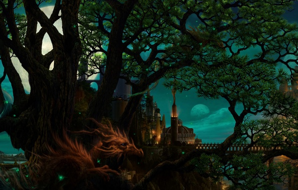 Picture trees, bridge, castle, dragon, tower, The moon, horns, the guardian