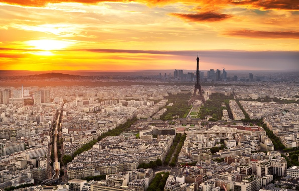 Picture the sky, clouds, sunset, the city, Eiffel tower, Paris, France, paris, france