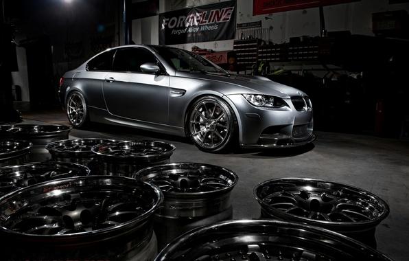Picture bmw, BMW, wheels, drives, side view, e92, matte grey, grey matte