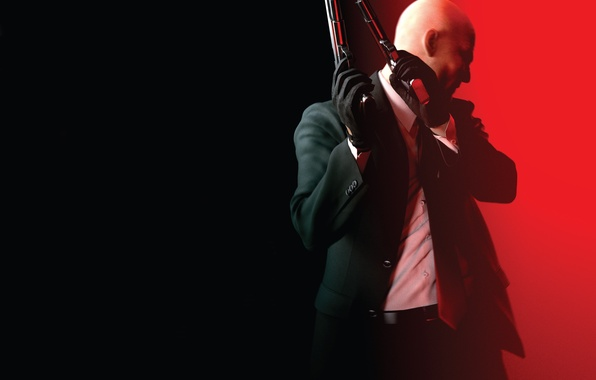 Picture red, weapons, bald, tie, gloves, shirt, jacket, Square Enix, Agent 47, Silver baller, Hitman: Absolution, …