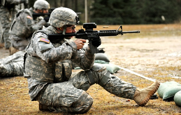 Picture weapons, soldiers, machine, shooting, equipment, sleeve, the shooting range, М4 Carbine