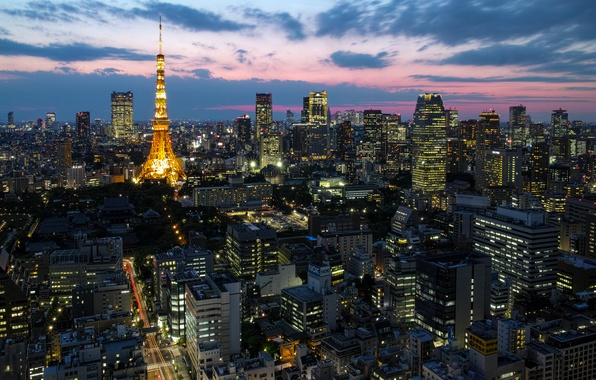 Picture the sky, clouds, sunset, lights, building, tower, home, skyscrapers, the evening, Japan, lighting, Tokyo, Tokyo, ...