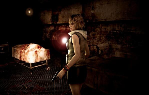 Picture darkness, gun, the darkness, lantern, fan art, Heather Mason, Konami, survival horror, silent hill 3