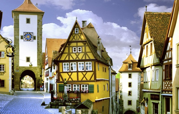 Picture the sky, street, watch, tower, home, gate, Germany, Bayern, Rothenburg