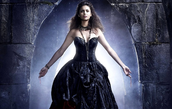 Picture girl, blood, hands, dress, actress, brunette, the series, Nina Dobrev, Nina Dobrev, The Vampire Diaries, ...