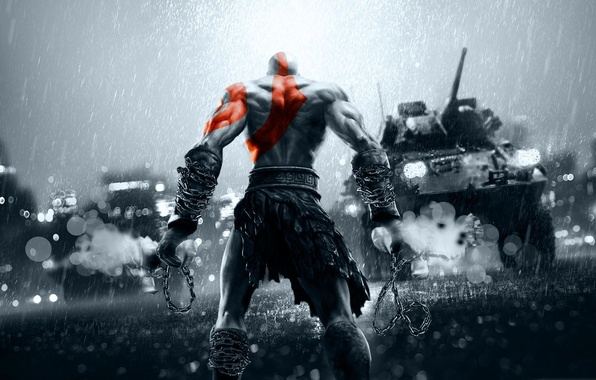 Picture city, China, red, sword, gun, game, rain, weapon, grey, war, Kratos, God of War, Battlefield, …